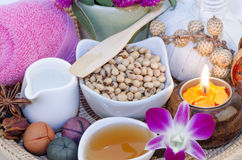 Herbal facial mask Body skin care Soybeans, mixed with warm water, natural spa skin Royalty Free Stock Photo