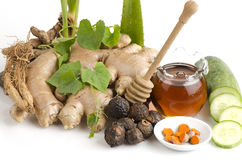 Herbal facial mask Body Skin whitening with Ivy Gourd, Honey and pandan. Royalty Free Stock Photography