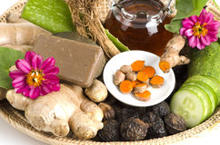 Herbal facial mask Body Skin whitening with Ivy Gourd, Honey and pandan. Royalty Free Stock Photo