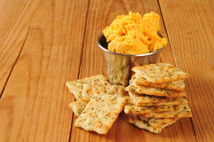 Herbal flatbread crackers with cheese spread Stock Photography