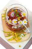 Herbal floral tea with camomile Stock Photos