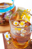 Herbal floral tea with camomile Royalty Free Stock Photos