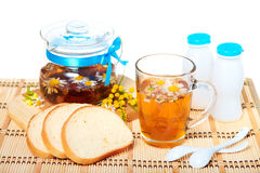 Herbal floral tea with camomile flowers Royalty Free Stock Image