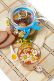 Herbal floral tea with camomile flowers and honey Royalty Free Stock Image