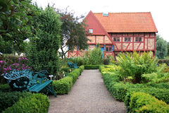 Herbal garden of Greyfriars Abbey in Ystad, Sweden Stock Image
