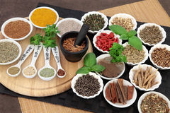 Herbal Health Ingredients. Herb and spice selection for men used in natural alternative herbal medicine royalty free stock photo
