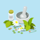 Herbal heeling cure alternative medicine 3d isometric vector Royalty Free Stock Photo