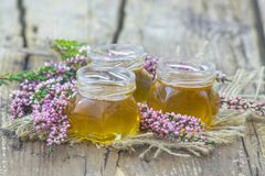 Herbal honey with heather flowers Stock Image