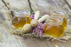 Herbal honey with heather flowers Stock Photo