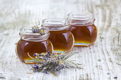 Herbal honey with lavender flowers Royalty Free Stock Photography