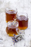 Herbal honey with lavender flowers Royalty Free Stock Photos
