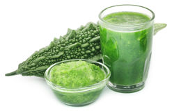 Herbal juice of green momodica Stock Images
