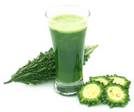 Herbal juice of green momodica Royalty Free Stock Photography