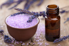 Herbal lavender salt and essential oil Royalty Free Stock Photos