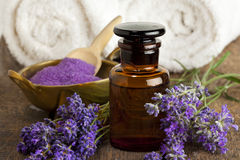 Herbal lavender salt and essential oil stock photo