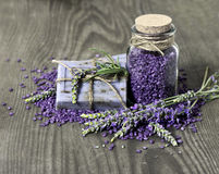 Herbal lavender soap and  bath salt Stock Photos