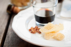 Herbal Liqueur with Crystallized Ginger and Brown Rock Sugar Royalty Free Stock Photography