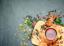 Herbal and masala tea on a black chalkboard Royalty Free Stock Photography