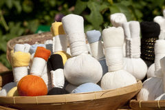 Herbal massage balls. For treat in spa stock photo