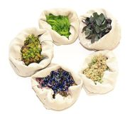 Herbal, medicinal grasses ,grasses for sorcery. 5 sacks with herbals, isolated Stock Photography