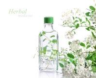 Herbal medicine. Bottle of herbal medicine and flowers Stock Images