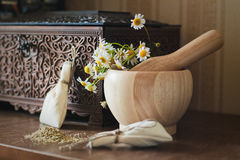 Herbal medicine. Camomile and mortar, and pestle Stock Photo