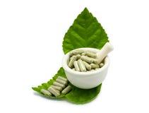 Herbal medicine capsule in in the mortar, alternative medicine Stock Photos