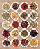 Herbal Medicine. Chinese herbal medicine selection in white china bowls Royalty Free Stock Photo