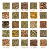 Herbal Medicine Collection. Large collection of herbs used in natural alternative herbal medicine with dried leaves, flowers, roots and bark in square shapes stock image