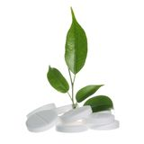Herbal Medicine Concept on White. Pills with Leaf as Herbal Medicine Symbol on White Royalty Free Stock Photos