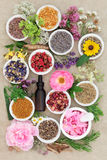 Herbal Medicine. Flower and herb selection with dropper bottle and mortar with pestle forming an abstract background over handmade hemp paper background Royalty Free Stock Photos