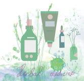 Herbal medicine illustration with bottles Royalty Free Stock Image