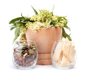 Herbal medicine. S over white background Stock Photography
