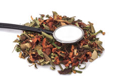 Herbal medicine. Herbal medicines with stethoscope Stock Photos