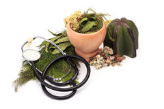 Herbal medicine. Herbal medicines with stethoscope Stock Photo
