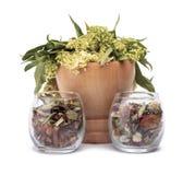 Herbal medicine. Herbal mediicines over white background Stock Images