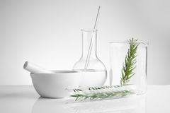 Herbal medicine natural organic and scientific glassware. Research and development concept Stock Photos