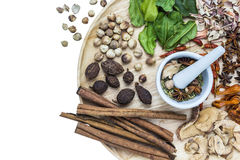 Herbal medicine. A photo of Herbal medicine in wood dish on white isolate background with space for text Stock Images
