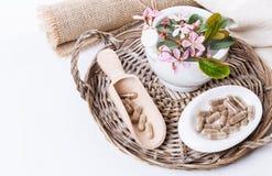 Herbal medicine pills over white Stock Photo