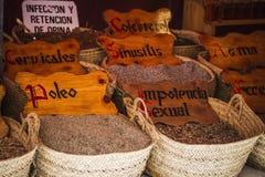 Herbal medicine, street vendor of medicinal herbs, wellness, spi Royalty Free Stock Image