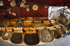 Herbal medicine, street vendor of medicinal herbs, wellness, spi Royalty Free Stock Photo