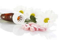 Herbal medicine with tablets Royalty Free Stock Photos