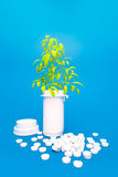 Herbal medicine - tree growing on pile of drugs Stock Images
