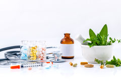 Herbal medicine VS Chemical medicine the alternative health care royalty free stock image