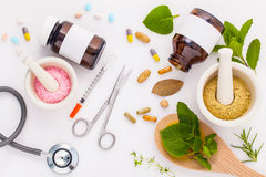 Herbal medicine VS Chemical medicine the alternative healthy car Stock Image