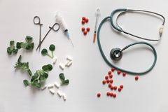 Herbal medicine vs chemical medicine the alternative healthy car Stock Photo