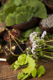 Herbal medicine, wooden table background Stock Photos