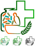 Herbal medicines. Isolated illustrated logo design Stock Photo