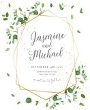 Herbal minimalistic polygonal vector frame. Hand painted plants, branches, leaves on white background.Greenery wedding invitation. Watercolor style.Gold line stock illustration