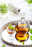 Herbal, mint homemade liquor. Russian traditional strong spirits Stock Photos